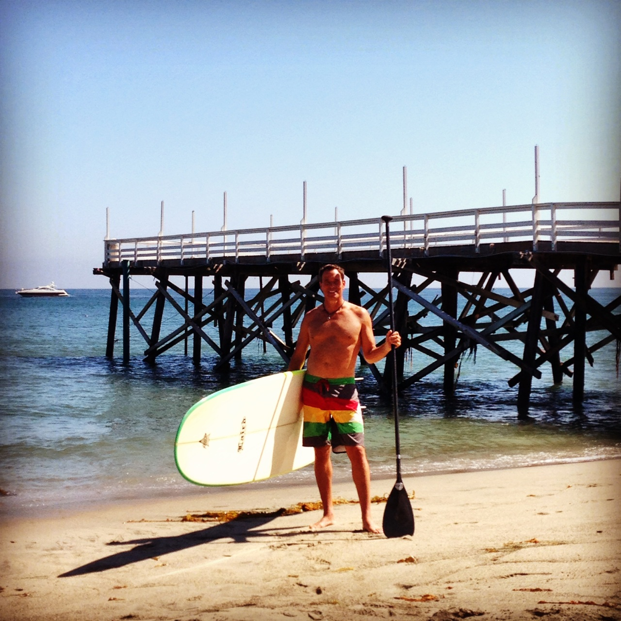 Scott ready to SUP at Paradise Cove, Malibu