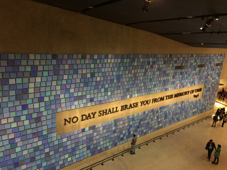 911 Museum, blue tiles represent the colors of the sky on Sept. 11th, 2001 from various people's points of view.