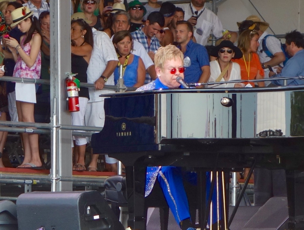 "Sir Elton John opens with ""Funeral For a Friend"" at the Acura Stage pleasing the crowd"