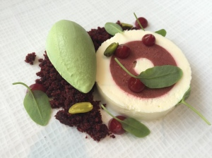Red velvet cream cheese mousses with sorrel ice cream