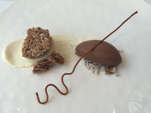 Gianduja cremeux wafer streusel with nutella ice cream