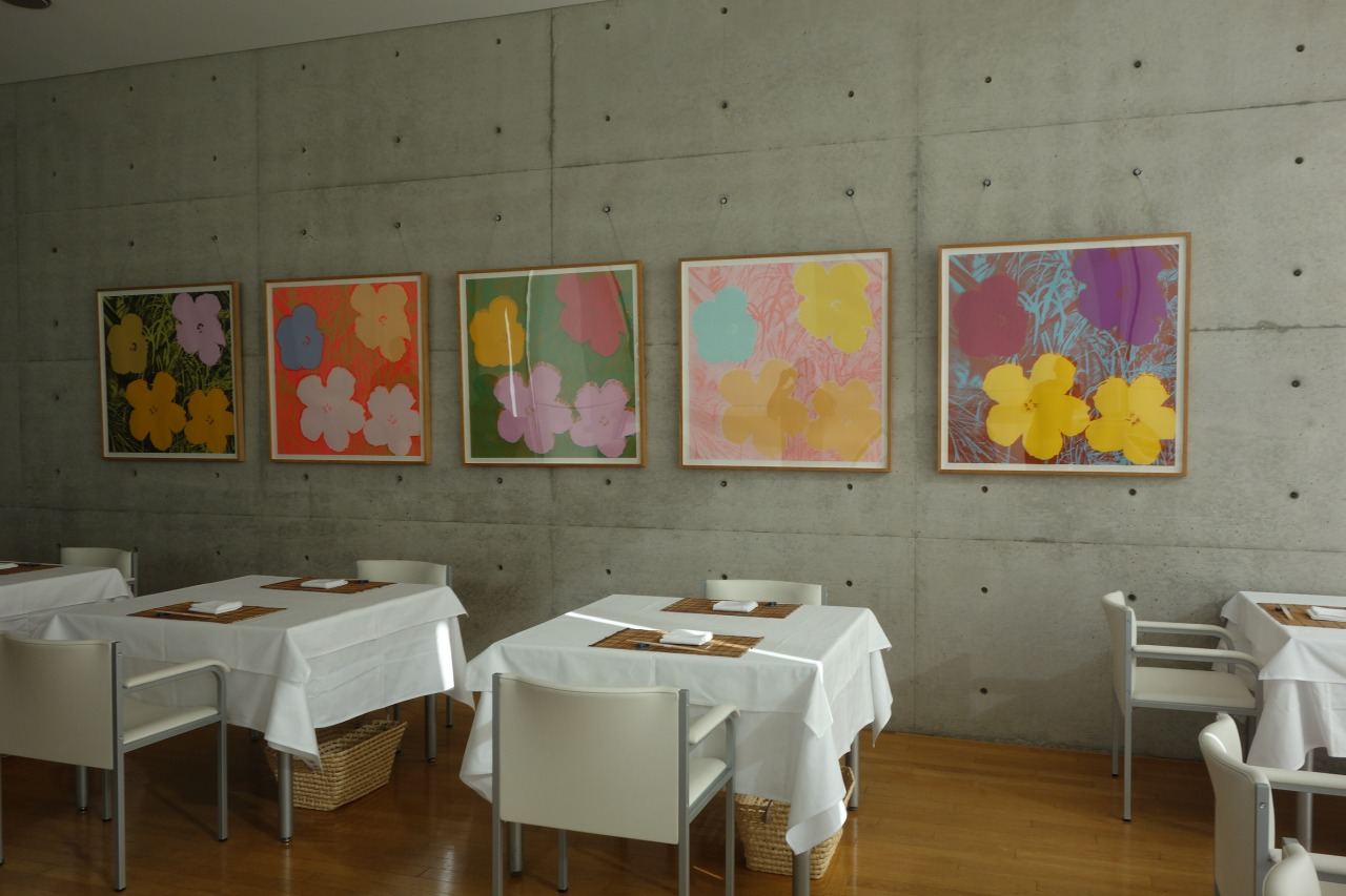 Andy Warhol's flowers adorned the walls of the Japanese restaurant inside the Benesse Art House Museum