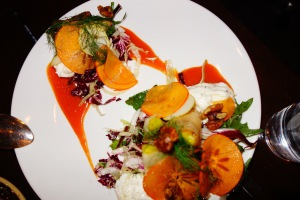 Burrata and persimmon salad