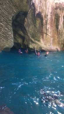 Snorkeling the cave (photo by Charles Grieve)