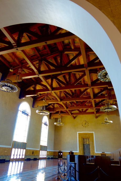 steel ceiling at Union Station Los Angeles