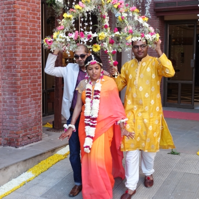 Bride at Haldi ceremony