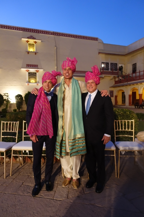 Men in turbans at wedding Jaipur City Palace