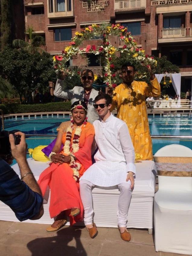 Bride and groom at Haldi