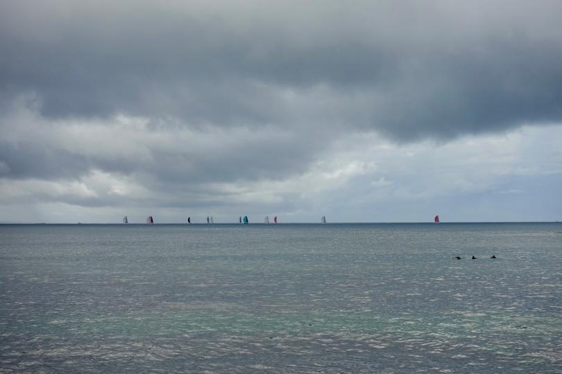 Rain on sailboats in Australia NSW