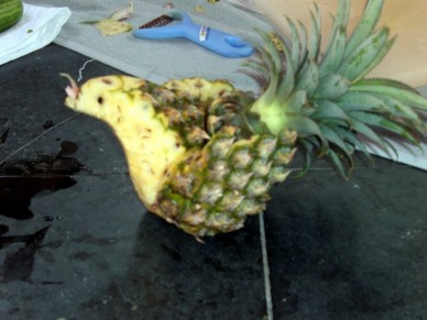Carved pineapple chicken in Thailand