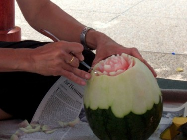 Carving watermelon in Thailand