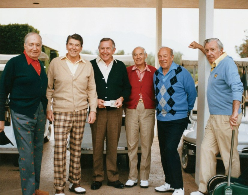 Walter Annenberg, Ronald Reagan, Charles Price, William French Smith, George Shultz, Donald Regan New Years Eve 1985
